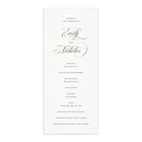 exquisite calligraphy wedding programs