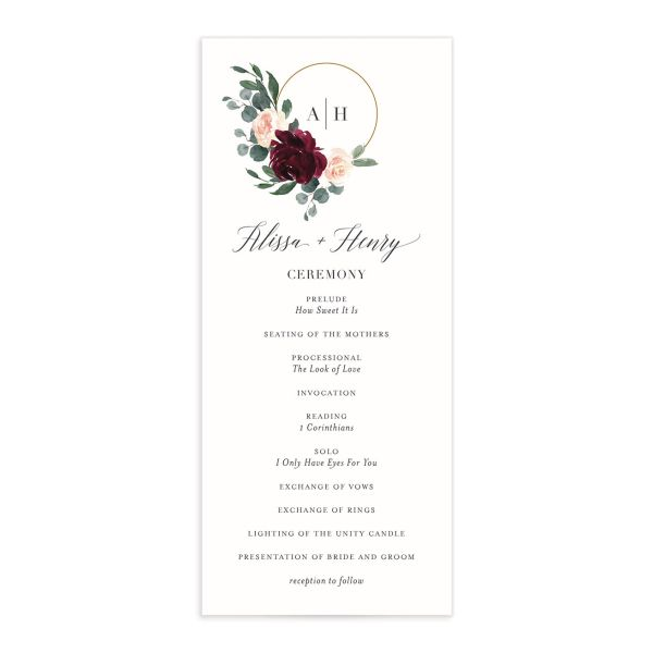 Floral Hoop Wedding Programs