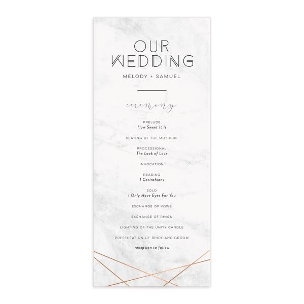 geometric marble wedding programs