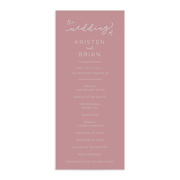 Modern Calligraphy Wedding Programs front, in pink
