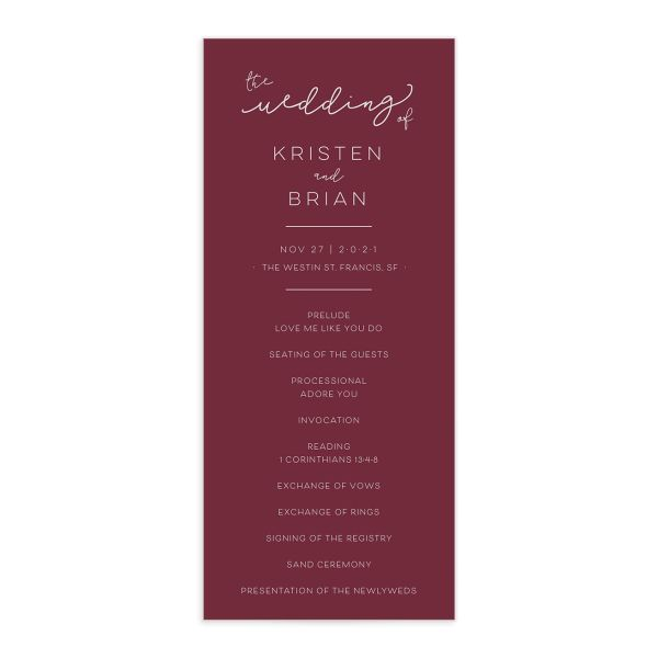 Modern Calligraphy Wedding Programs front, in red