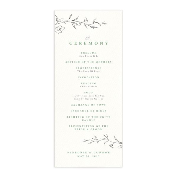 graceful botanical wedding programs in green