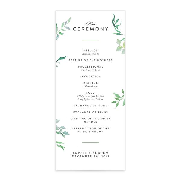 greenery ampersand wedding programs