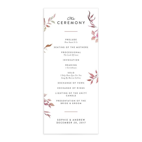 greenery ampersand wedding programs in purple