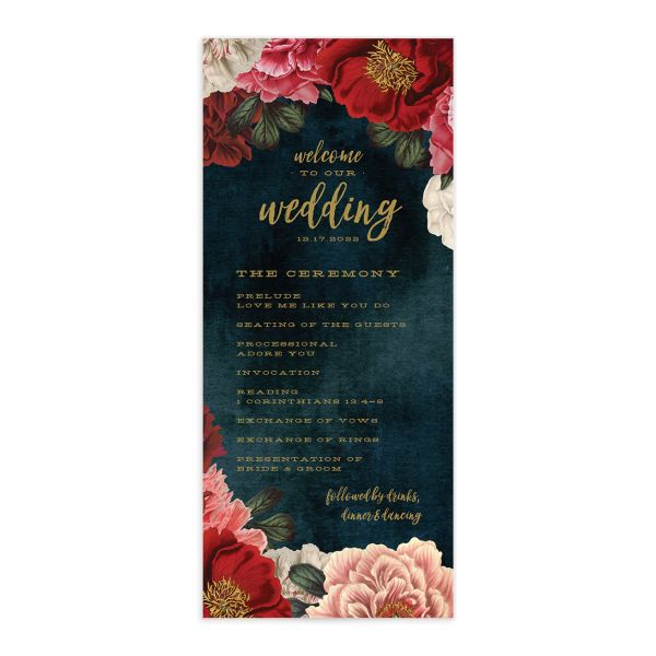midnight peony wedding programs