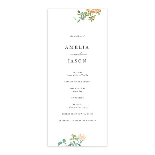 Minimal Floral wedding program front