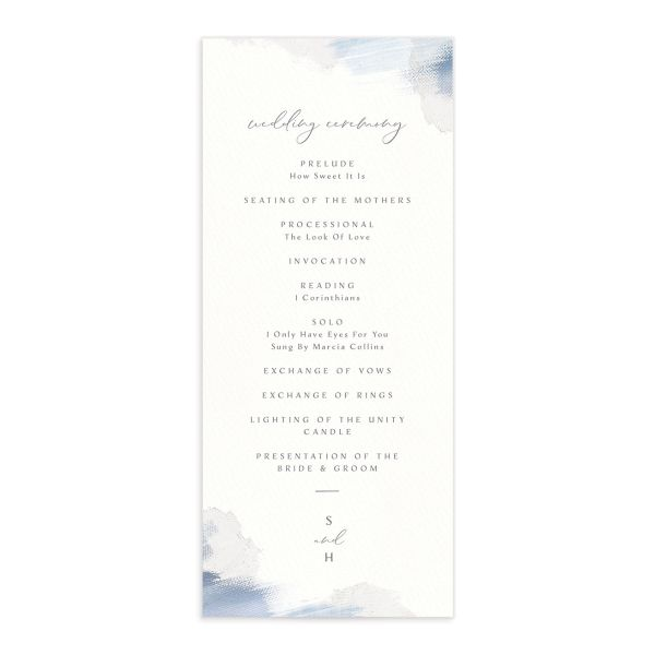 Minimal Brush wedding program blue front