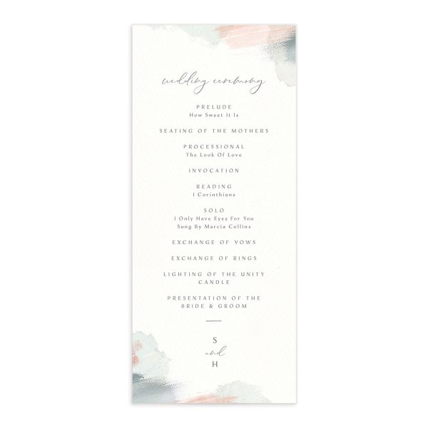 Painted Minimal wedding program front green