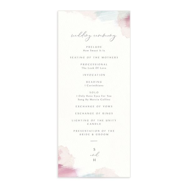 Painted Minimal wedding program front pink