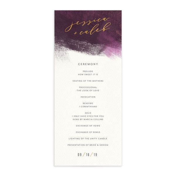 Modern Brushstroke wedding program front