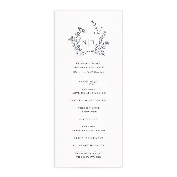 Natural Monogram wedding programs in blue