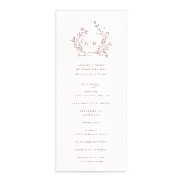 Natural Monogram wedding program fronts in pink