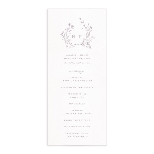 Natural Monogram wedding program fronts in purple