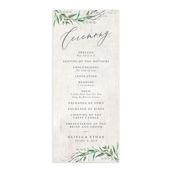 Natural Laurel Wedding Program