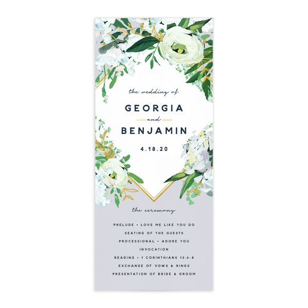 Painted Greenery Wedding Programs front in blue