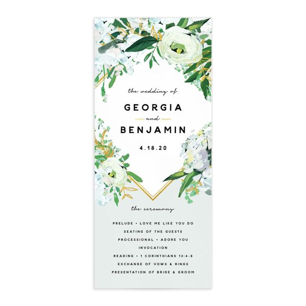 Painted Greenery Wedding Programs front in white