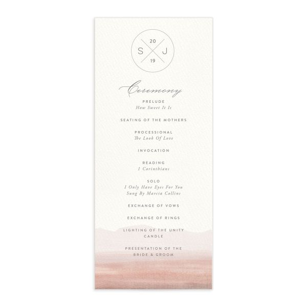 painted desert wedding ceremony program in pink