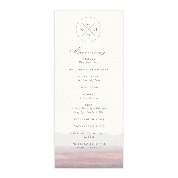 painted desert wedding ceremony program in purple