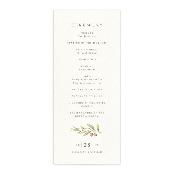 Painted Winery wedding program