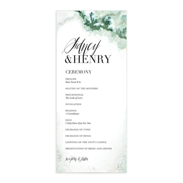 painted ethereal wedding programs in green