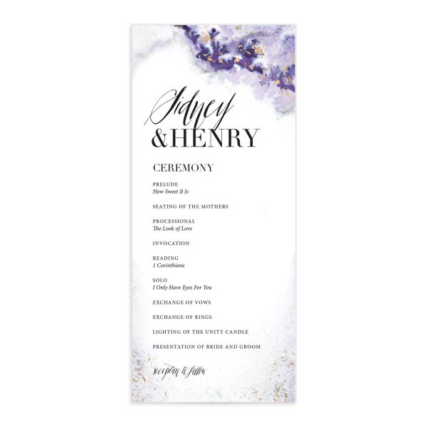 painted ethereal wedding programs in purple