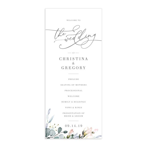 Romantic Calligraphy wedding programs front in multi