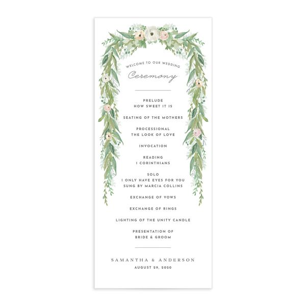 Romantic Garland Wedding Programs front