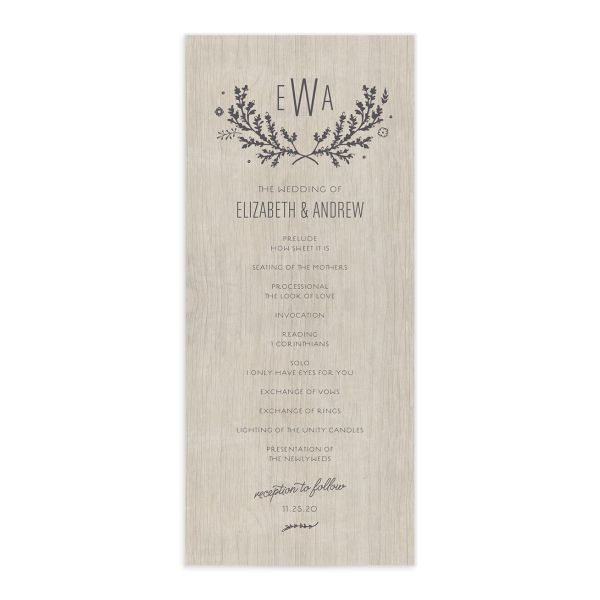 rustic chic wedding programs