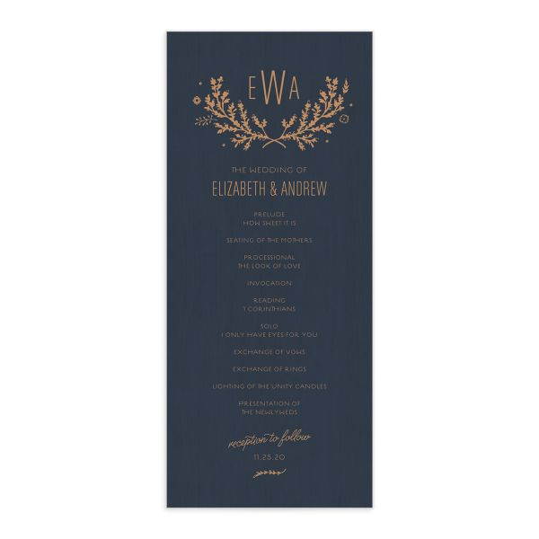 rustic chic wedding programs in blue