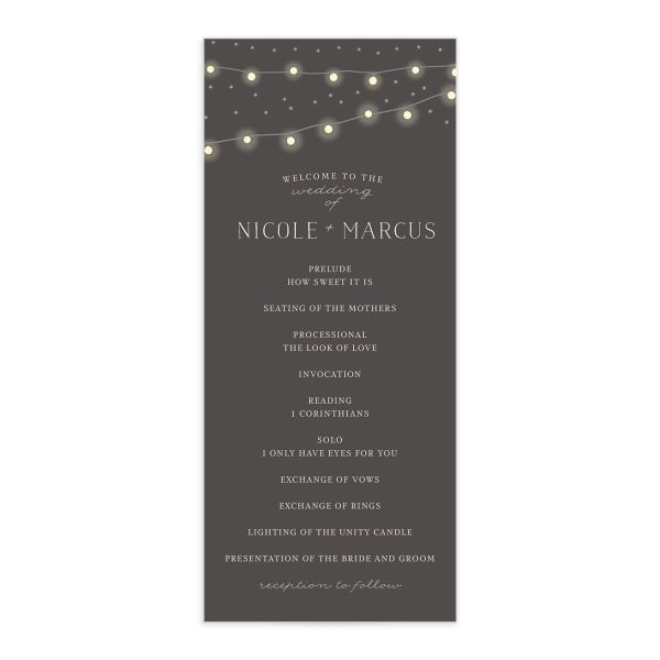 strung lights wedding programs