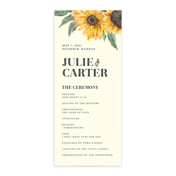 sunflower wedding programs