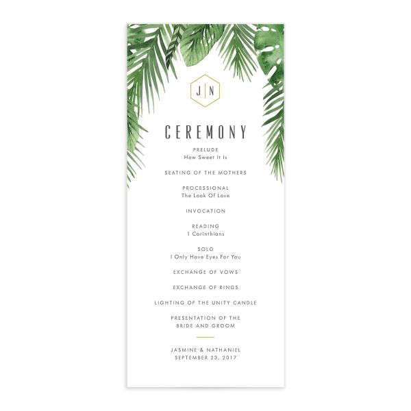 Tropical Leaves wedding program front