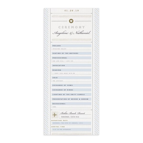 Vintage Boarding Pass wedding program blue front