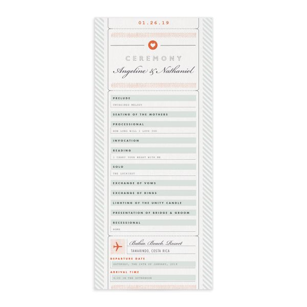 Vintage Boarding Pass wedding program green front