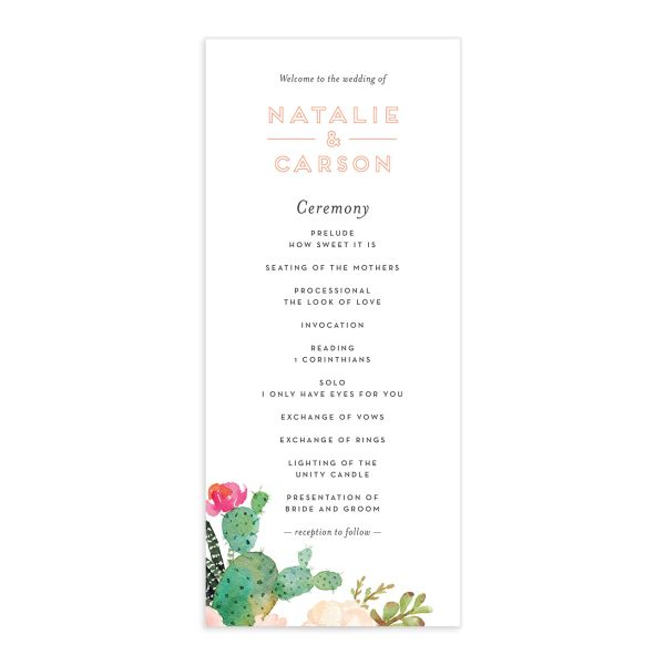 Watercolor Cactus Wedding Programs