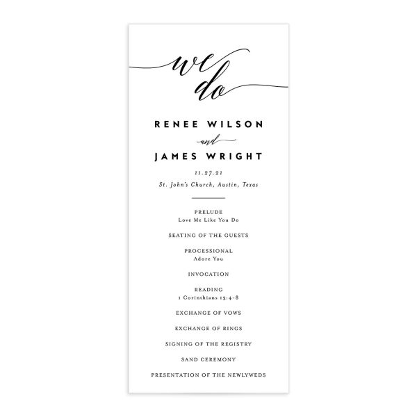 We Do Wedding Programs front in black