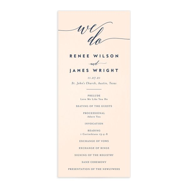 We Do Wedding Programs front in pink