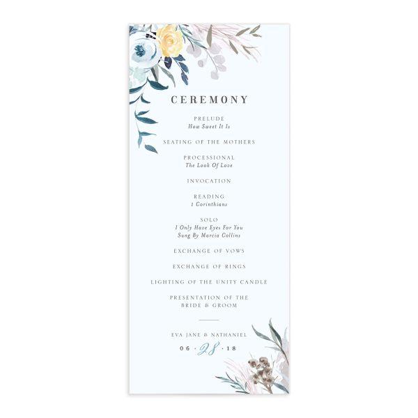 wild wreath wedding ceremony programs in blue