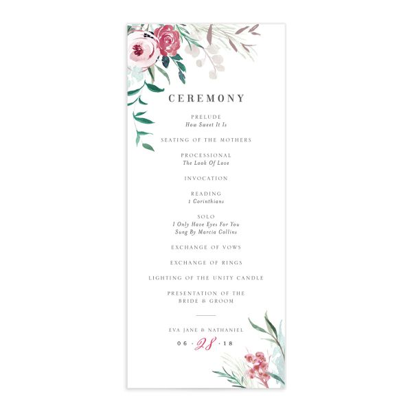 wild wreath wedding programs in green