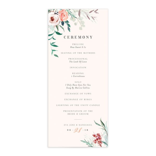 wild wreath wedding programs in pink