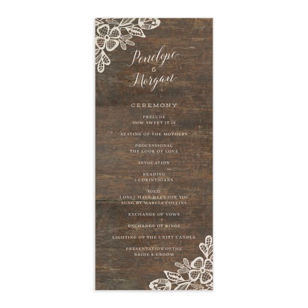 Woodgrain Lace wedding program front