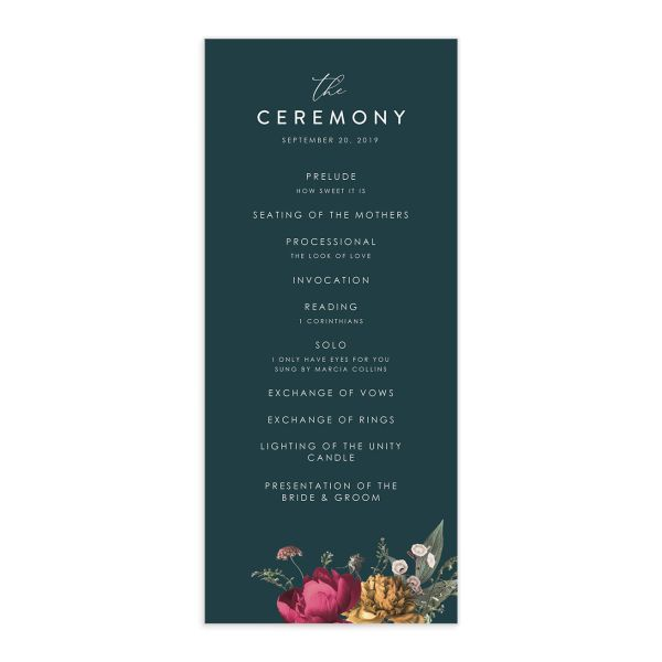 Blooming Botanical wedding program front