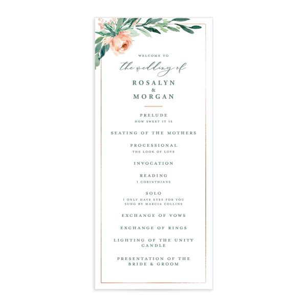 Gilded Botanical wedding program
