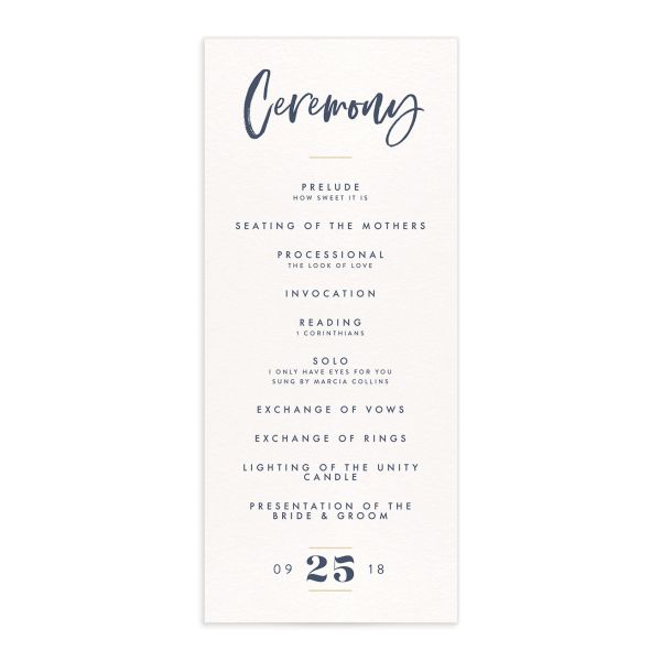 modern luxe wedding ceremony programs in blue