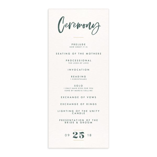 modern luxe wedding ceremony programs in teal