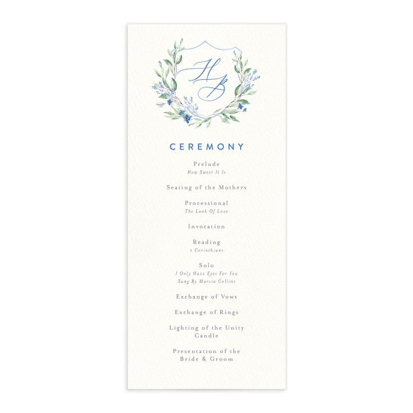 watercolor crest wedding programs in blue