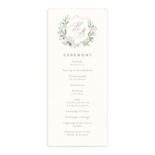 watercolor crest wedding programs in pink