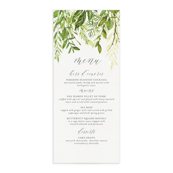 Watercolor Greenery Menus front