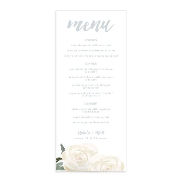 Wintry Floral Wedding Menus front