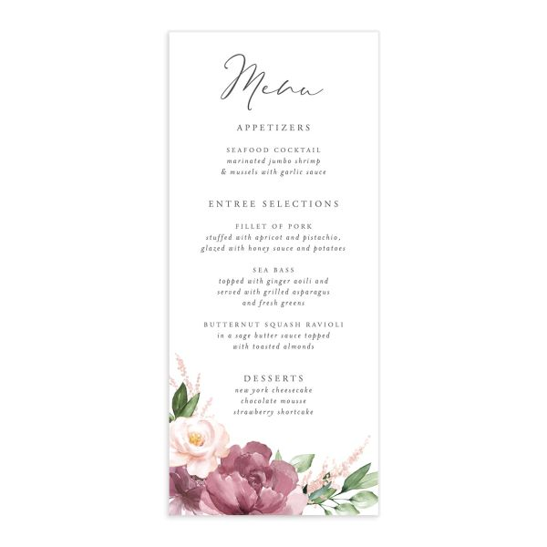 Beloved Floral Menus in purple